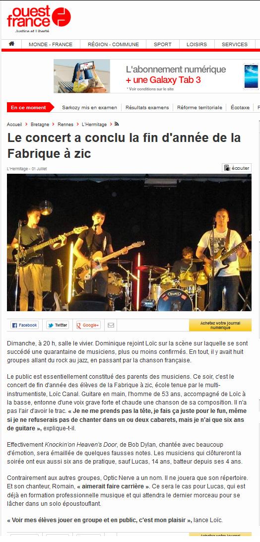 Article ouest france concert 2014c